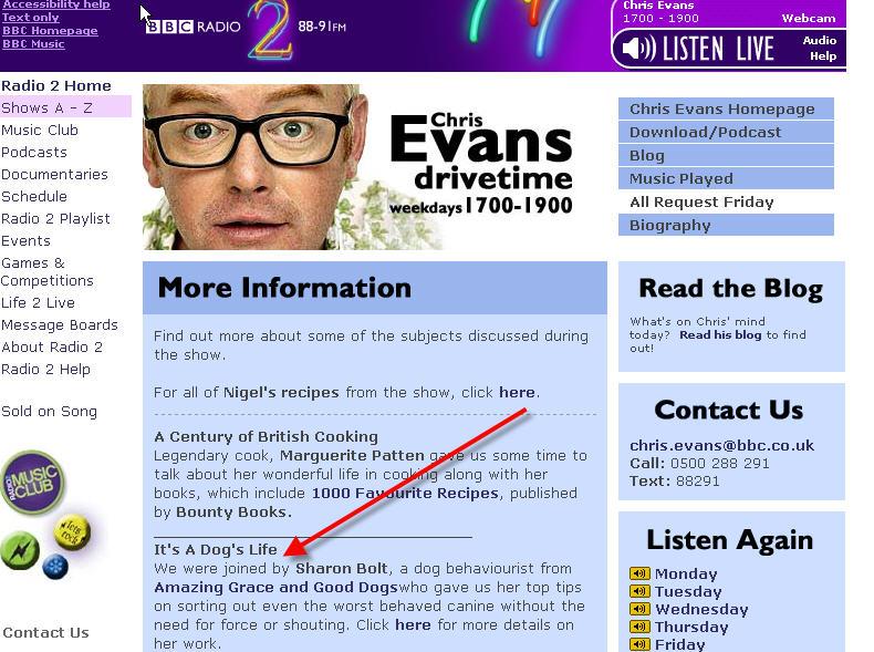 Chris Evans show 24th Jan